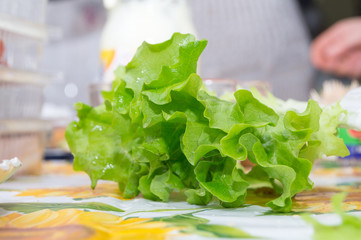 green salad in the foreground