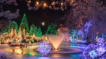 Christmas lights decoration with holidays background,Vandusen garden,Vancouver BC Canada