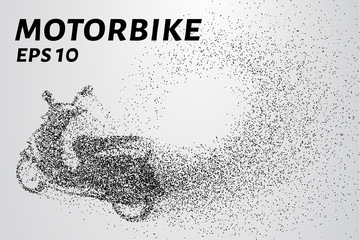 The motorbike of the particles. The motorbike breaks down into small circles and dots