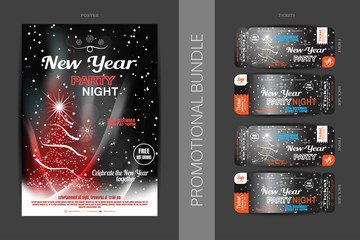 Vector New Year night party promotional bundle of poster and tickets on the dark gray gradient background with Christmas tree, snowflakes and snowfall.