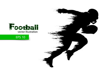 silhouette of a football player. Rugby. American footballer. Vector illustration