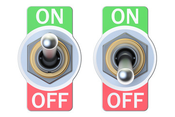 two switches on and off, 3D rendering