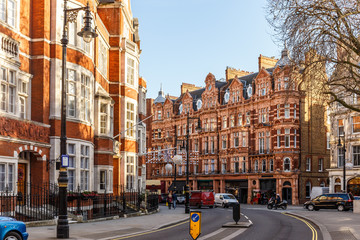 Classic red brick building in Mayfair