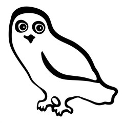 Vector illustration of owl black and white