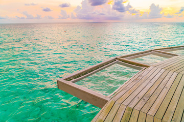 Vacation net seat in tropical Maldives island and beauty of the