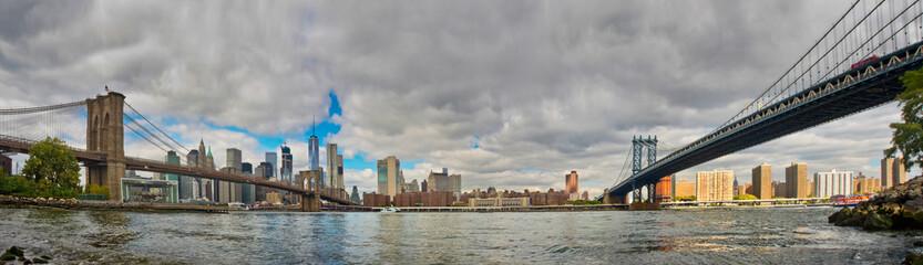Manhattan and Brooklyn Bridges from Brooklyn. Cityscape of New Y