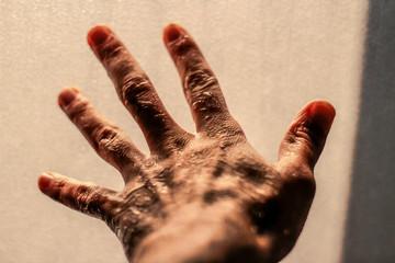 Open wet human hand