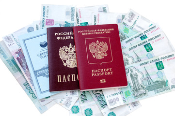Savings book and a passport in the Russian money on a white background