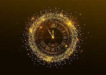 Midnight New Year. Clock with Roman numerals and gold confetti on dark background