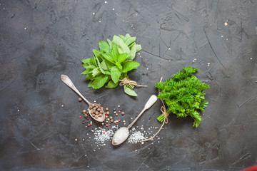 parsley, mint and spices on a table, selective focus, the top view with copy space