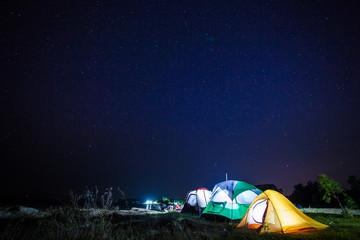 three tent grow up under starlight