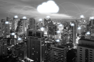 Night cityscape and internet network connection cloud technology