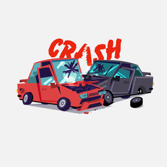 car crash.  accident with two damaged autos. typographic design