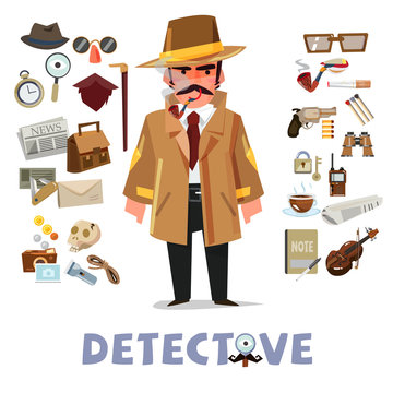 detective character design with equipment. icon set elements - v
