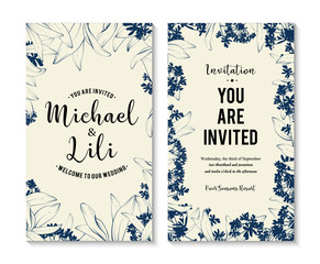 Floral background for invitation card. banners set