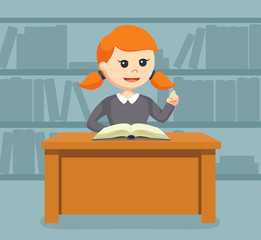 librarian girl with opening book
