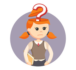 girl with question mark in her head