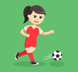 soccer ball player girl running