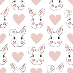 Seamless Pattern with Rabbit and Hearts