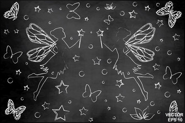 Silhouettes of fairies and butterflies. For girls. Set. On the chalkboard.