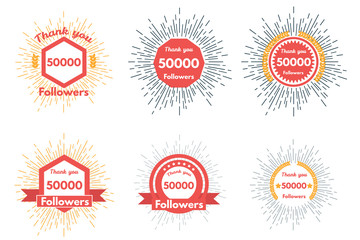Thank you followers icons or badge set