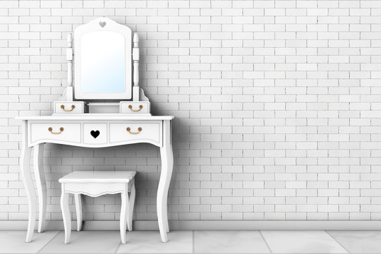 Antique Bedroom Vanity Table with Stool and Mirror. 3d Rendering