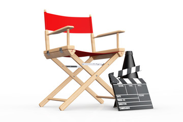Cinema Industry Concept. Red Director Chair, Movie Clapper and M