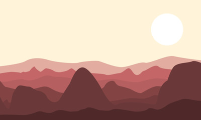 Silhouette of desert and rock landscape