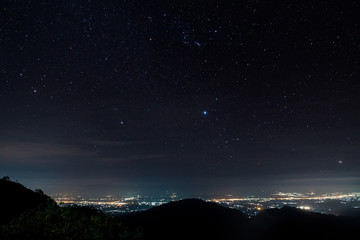 Star on monson viewpoint at doi angkhang, chiangmai, Thailand