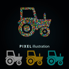 Tractor - pixel illustration.
