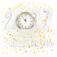Happy New Year for 2017 with clock and golden confetti
