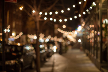 Blurred Street in christmas lights