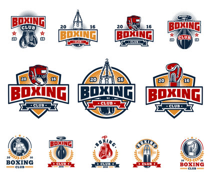 Set boxing badges, stickers isolated on white.