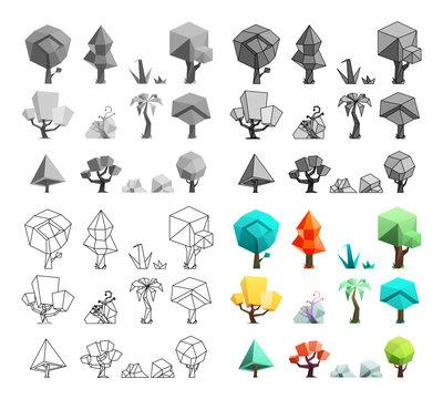 Low poly trees rocks grass icons set flat design line art vector illustration