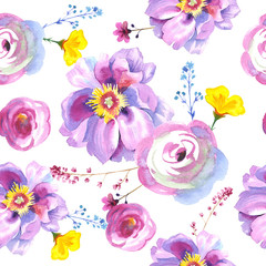 Wildflower rose flower pattern in a watercolor style isolated