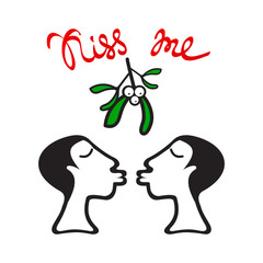 mistletoe women kiss