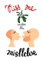 mistletoe couple kiss