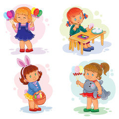 Set clip art illustrations with young children on Easter theme