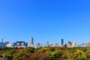 Beautiful Osaka cityscape view from Osaka castle, Japan