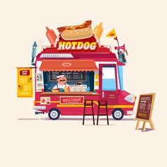 Hotdogs Food Truck. Street Food Truck concept with merchant c