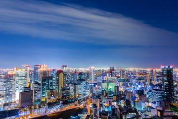 Aerial view of beautiful Osaka night city scape