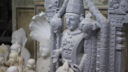 Statue of Hindu God Krishna Gopala. Crafts and Arts of India. Mu