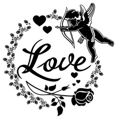 Cupid with bow hunting for hearts. Black and white label with Cupid