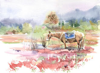 mountain landscape, horse, watercolor