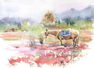 mountain landscape, horse, watercolor