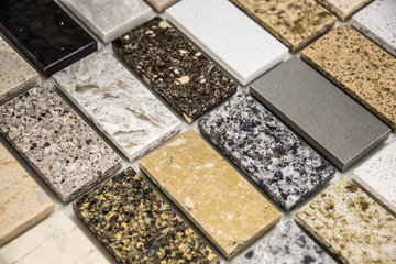 Countertop color samples made for kitchen and bathroom remodeling