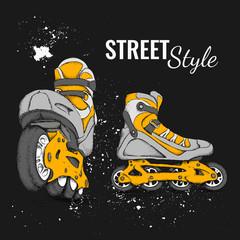 Roller Skate And Grunge Texture Background. Vector Illustration.