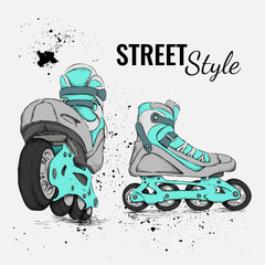 Roller Skate And Grunge Texture Background. Vector Illustration.