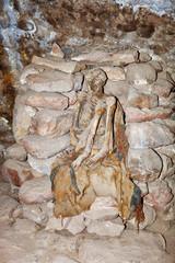 Cave cemetery chullpas with several mummies, Coqueza, Tunupa volcano, in the Uyuni salt flat, Bolivia