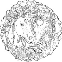 Portrait of two horses, male and stallion with flowers